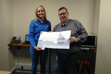 Chelsea Galpin from Cynthia Spencer Hospice and Edward McNeill from Timken Rail Services